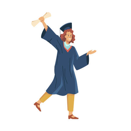 Happy female graduated student celebrate graduation college, university or high school flat cartoon character. Vector woman in academic gown and mortarboard cap, diploma education certificate in hand Ilustração