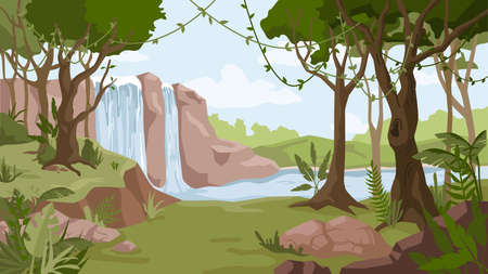 Waterfall jungle landscape cartoon background. Vector river streams of water flowing, green exotic forest woods with trees. Tropical natural scenery with cascade of rocks, wild nature and bush foliage