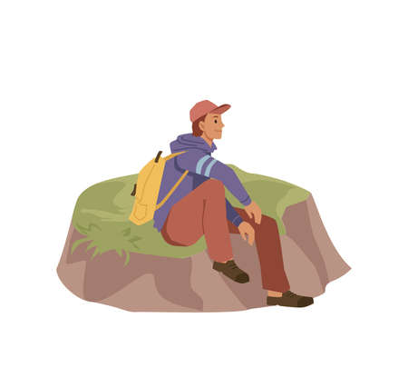 Traveler sits on hill isolated flat cartoon person. Vector tourist man in cap and rucksack backpack, trekking, climbing or hiking hobby activity. Lonely person sitting on grass, hiker on excursion