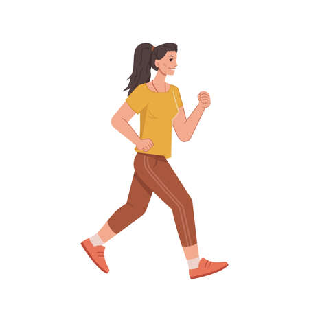 Jogging woman in casual cloth isolated cartoon style character, running female with pony tail, side view. Vector female on sport trainings. Pretty sportive jogger in uniform, run workout, motion