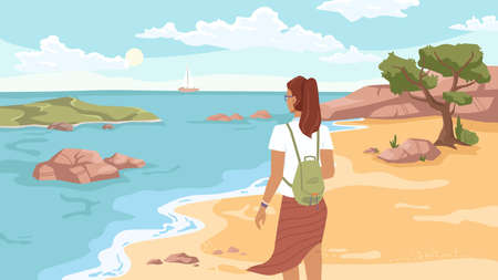 Summer beach, sandy coastline, tree and woman back view looking on sea or ocean, flat carton style. Seashore landscape, rocky cliff, ship yacht on horizon. Girl on paradise island, summertime vacation Ilustração