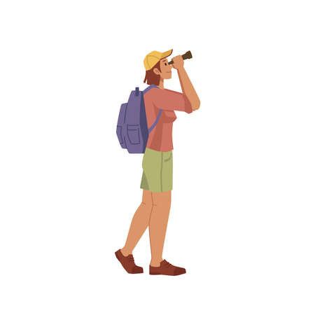 Traveler looks through binoculars isolated flat cartoon character. Vector man woman looking in field glasses, tourist watching in telescopes, discovering surrounding world, vacation on nature outdoors