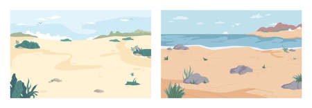 Landscape, cartoon summer beach set. Vector paradise nature vacation, ocean or sea seashore with sand and rocks. Seaside, relax on tropical coast, summertime background. Resort or vacation backdrop