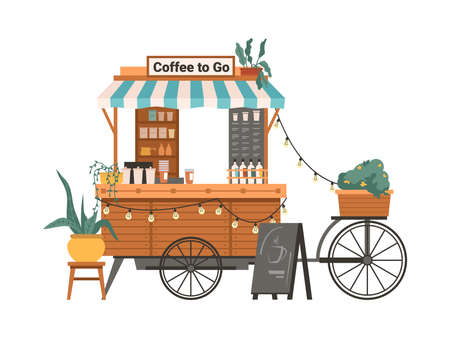 Coffee mobile bike kiosk isolated small takeout takeaway shop. Vector street food cart with awning, trolley small market on wheels with hot drinks and beverages. Potted plants and lamps garland