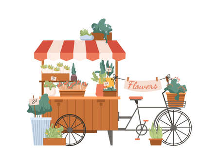 Mobile flower shop, delivery bouquets by bicycle isolated flat cartoon marketplace. Floristry kiosk, baskets and pots with plants, street floral store for houseplants sale. Romantic tulips and roses