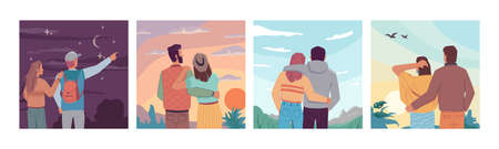 Sky landscape travel people looking at night starry sky, sunrise or sunset, flying birds at daytime. Vector couple in love observation nature and dreaming together. Inspiration and imagination Illustration