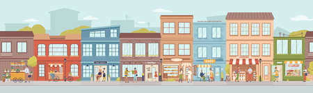 City small buildings facade exterior design. Vector urban street with local markets, flower florist shop, bakery and barbershop, clothing boutiques and cafes, restaurants and cafeterias, people Illustration