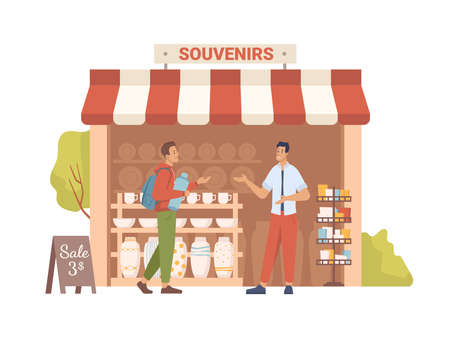 Souvenir shop with awning, sale on market, seller show goods to buyer, flat cartoon people. Vector small retail business, antique store, collectables in shop window, presents, gifts, decorative vases
