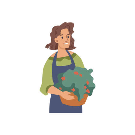 Woman florist or flower seller with potted plant isolated flat cartoon character. Vector gardener or landscape architecture with bouquet, smiling farm lady in apron. Small business owner, salesperson