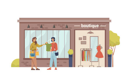 Clothing store, boutique shopstore facade exterior cartoon building and woman choosing new closes. Vector mannequin, shopfront with modern cloths, small city mall with dummy, girls buyers