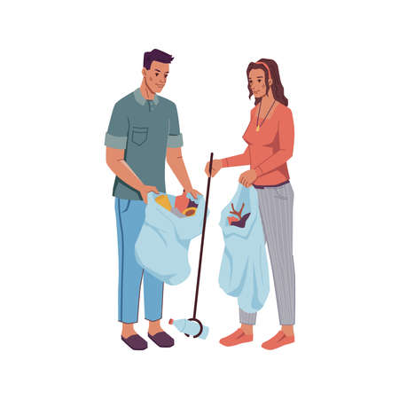 Happy couple volunteers gather litter into bags isolated flat cartoon characters. Vector people activist collecting rubbish from ground, cleaning environment from trash and dirt, save ecology