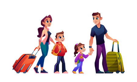 Family parents and children with luggage bags isolated cartoon people. Vector mother, father, boy and girl with suitcases going on summer holidays. Happy people with baggage, traveling together
