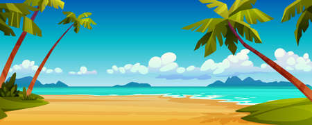 Cartoon summer beach, ocean or sea shore, paradise with yellow sand, palm and blue tranquil water. Vector landscape scenery, tourist holiday vacation place for rest. Seaside seashore, tropical trees Ilustração