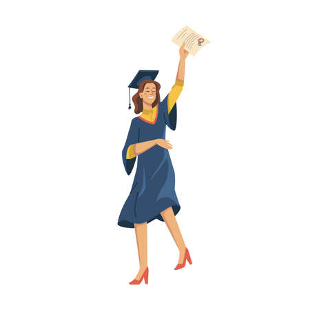 Woman student celebrating university graduation isolated flat cartoon character. Vector girl in academic gown, mortarboard cap, high heels, diploma education certificate in hand. Joyful female person