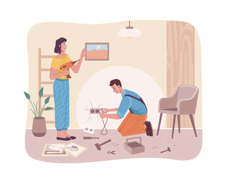 Home repair couple, carpenters husband and wife, cartoon characters. Vector repairman, female with drill, construction works. Handyman doing electricity in socket, maintenance services, room interior