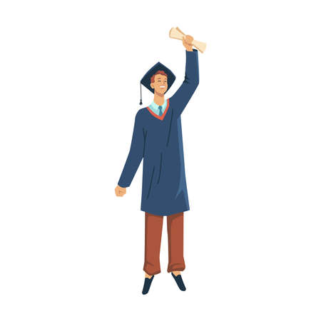 Man student in academic gown celebrate graduation from college, university or high school isolated flat cartoon character. Vector master bachelor with degree, certificate or diploma in hand above head