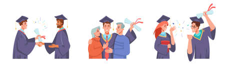Graduation set, receiving diploma, congratulating parents, celebrating finish of collage or university, graduate ceremony. Vector flat cartoon man and woman in mortarboards and gowns, dean professor