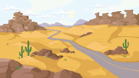 Desert with rocky mountains and hills of sand, growing cactus plants along path, flat cartoon design. Vector Arizona, Sahara or wild west sandy doughty valley landscape. Mexico panorama, hot place