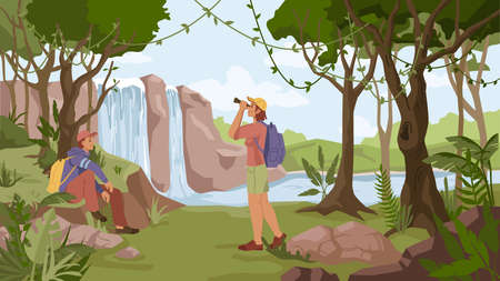 Waterfall jungle landscape and two people man sitting on rock and woman watching in binoculars with rucksack. Vector travelers and river streams, exotic forest with trees. Tropical natural scenery