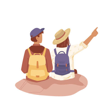 Couple of people with backpacks, tourist travelers flat cartoon people isolated. Vector tourists back view, young explorer travel together. Trekking man and woman with backpacks, looking at distance