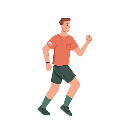 Running jogging man in casual cloth isolated flat cartoon character. Vector side view of guy with band tracker on hand. Sport trainings, sportive jogger in uniform, run workout, cardio motion exercise