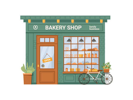 Bakery shop facade with signboard isolated flat cartoon building. Vector baking store, cafe, bread, pastry and dessert market supermarket. Showcase with bread and cakes products, bicycle and plant