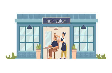 Hair salon, hairdresser cuts client woman, making stylish haircut. Vector barber beauty shop flat cartoon building. Barbershop facade exterior, entrance and shopwindow, hair cut for lady in chair