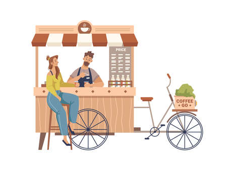 Client drinking, barista making coffee in mobile bike kiosk isolated small takeout takeaway shop. Vector trolley small market on wheels with hot drinks and beverages, street food cart with awning