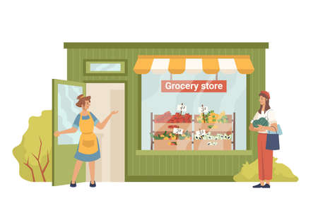 Grocery shop and cartoon people isolated. Vector greengrocery store facade exterior building, seller invites buyer to buy fruits, vegetables. Vector eco, organic food, vegetarian vegan products market Ilustração