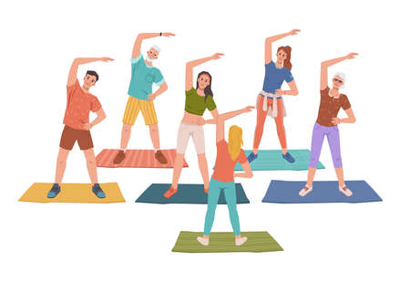 Fitness yoga classes with trainer instructor, healthy man woman doing sport exercises standing on mats, flat cartoon characters. Vector sportive people training together, workout, relaxation practice Ilustração