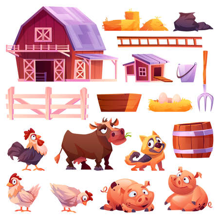 Domestic animals and poultry, barn and chicken coop isolated icons set. Vector collection of farm animals, cow and pigs, hen and rooster, dog. Pitchfork and nest with eggs, wood fence, bucket and hay