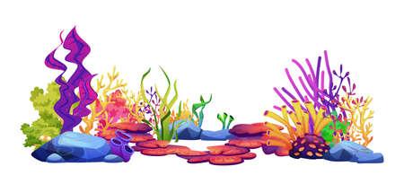 Underwater world sea bottom plants, algae and coral reef, seaweeds and stone rocks isolated on white. Vector undersea flora, aquarium, marine wildlife scenery, exotic tropical seafloor decor elements