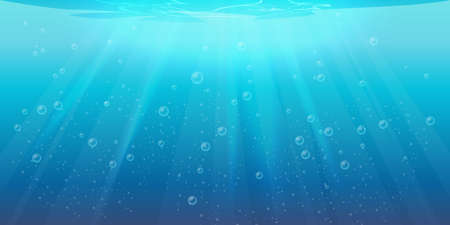 Vector underwater background, transparent aqua texture with air bubbles, ripples and sun rays falling. Sea or ocean aqua with light, seabed and sun beams, water surface, swimming pool or pond depth