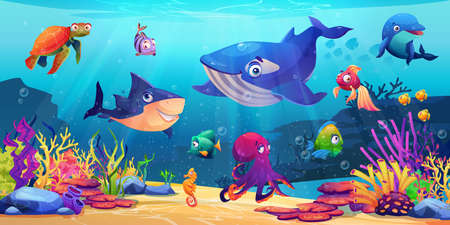 Marine life, underwater world with sea ocean animals, corals and algae, cartoon dolphin and shark, whale and fish, turtle and jellyfish. Childish seabed bottom creatures, undersea biodiversity fauna