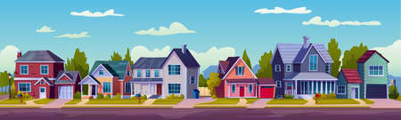 Urban or suburban neighborhood at night, houses with lights, late evening or midnight. Vector homes with garages, trees and driveway. Suburb village landscape with cottage buildings, street lamps
