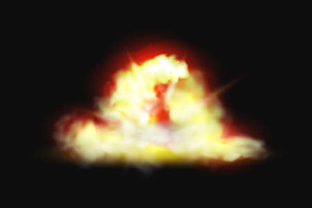 Explosion of fire, flame blast, burst of bomb realistic 3D effect on black background. Vector pyro fireball splashes, orange blazing flare, nuclear energy ignition. Burning campfire or bonfire