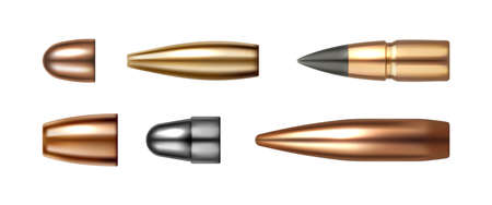 Set of bullet icons isolated on white. Vector cartridges, weapon ammo types and sizes in realistic design. ammunition shells, shotgun, gun and sniper rifle, firearm bullets. Copper hunting objects 矢量图像