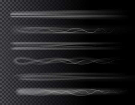 Smoke air trail set isolated 3D effects on transparent background. Vector rocket, plane jet or airplane trace, toxic chemical steam, aircraft or spaceship takeoff tail. Gas spray vapour, fog or mist