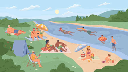 People resting on river beach flat cartoon vector illustration. Vector summer vacation on bank of lake, landscape scenery with green trees, hiking tent and umbrellas, swimming kids, man and woman