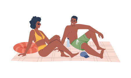 Summer beach vacation, afro american couple sitting on blanket and sunbathing, flat cartoon vector illustration. Man and woman in swimsuits chilling on seashore, rest on holiday together, water bottle 矢量图像