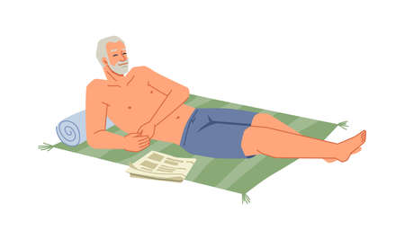 Bearded senior man sunbathing on blanket at seashore isolated flat cartoon character relaxing on beach. Summer vacation, recreation at seaside, adult person in swimwear, shirtless tourist relaxing