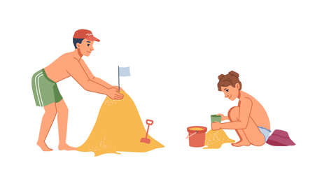 Boy and girl kids building sandcastle on summer sea beach isolated flat cartoon characters. Vector children sitting and standing on sand, happy child with toy bucket, playing together. Holiday leisure 矢量图像