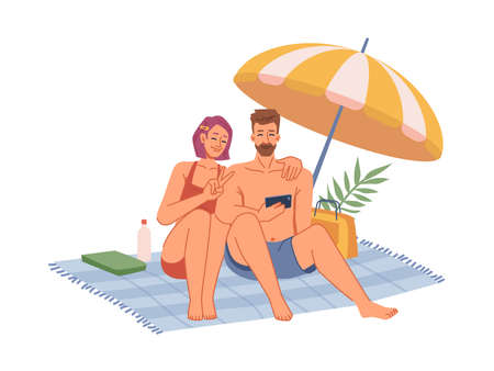 Couple in swimsuits sitting on blanket under umbrella, sunbathing on beach, making selfie on phone flat cartoon. Vector man and woman in swimsuits chilling on seashore, rest on holiday together