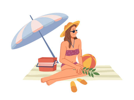 Woman in bikini swimsuit sitting on blanket under umbrella, sunbathing on beach flat cartoon character. Vector lady in straw hat and sunglasses chilling on seashore, rest on holiday vacation Illustration