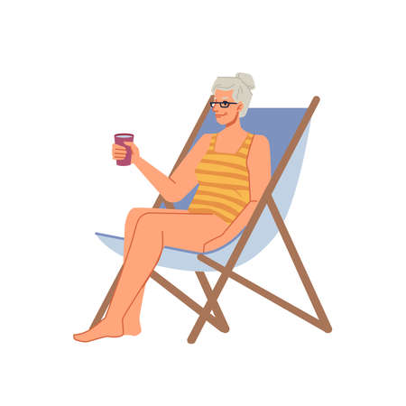 Grandmother senior woman in bikini swimsuit sitting on chaise lounge with cocktail, sunbathing on beach flat cartoon character. Vector lady in sunglasses chilling on seashore, rest on holiday vacation