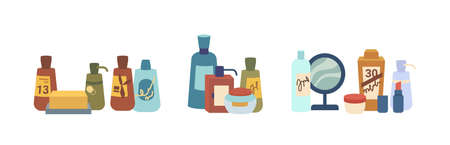 Beauty products packaging, cosmetics various skin and body care bottles, jars, soap and mirror, flat cartoon. Vector face treatment assortment of lotions, shampoo and washing gels containers Illustration
