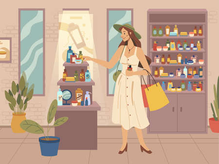 Beauty shop, fashion woman choosing cosmetics, flat cartoon vector. Female character chooses beauty products. Shop with different assortments, various skin and body care bottles and jars on shelves Illustration