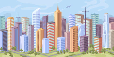 City panorama, skyscraper offices, real estate buildings, road and trees on green grass flat cartoon vector. Cityscape background, modern urban town architecture. Downtown at day, facade exteriors Illustration