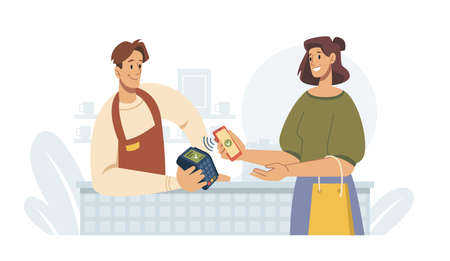 Contactless pay, woman paying by smartphone on terminal, flat cartoon vector illustration. Supermarket store counter shopper and vender at shop, cashier buyer. Mobile payments via nfc, money transfer Illustration