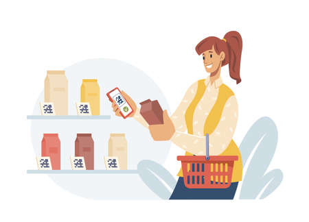Contactless pay by qr code, woman with basket holding milk in supermarket, make wireless payment by smartphone scanning barcode quick response code. Mobile application for digital transferring money.